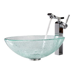 Kraus - Kraus Crackle Glass Vessel Sink and Unicus Faucet - Add a touch of elegance to your bathroom with a glass sink combo from Kraus.