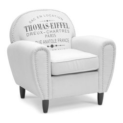 Baxton Studio - Thomas-Eiffel Linen Rustic Chair - Includes removable seat cushion. Traditional style. French text print. Birch wood frame. Black legs with non-marking feet. Stuffed with comfortable polyurethane foam cushioning. Spot clean only. Beige color. Assembly required. Arm height: 25.62 in.. Seat: 20.75 in. W x 19 in. D x 20.37 in. H. Overall: 32.5 in. W x 34.25 in. D x 34.12 in. H (32 lbs.)