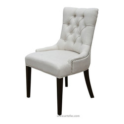 ARTeFAC - 2 - Accent Tufted Fabric Chairs in Neutral Linen with Silver Nail Head, Neutral - 2 - Accent Tufted Fabric Chairs with Silver Nail Head