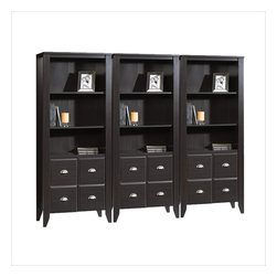 Sauder - Sauder Shoal Creek Wall Bookcase with Doors in Jamocha Wood - Sauder - Bookcases - 408739PKG - Sauder Shoal Creek Library with Doors in Jamocha Wood (included quantity: 3)