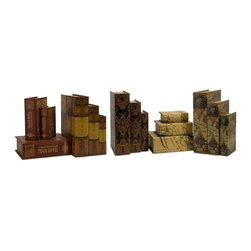 iMax - iMax Convenience Book Boxes X-51-21131 - Unique set of lidded book boxes set of 15