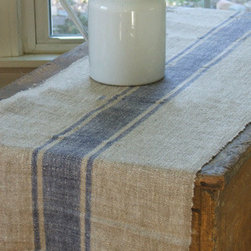 Beyond Grain Sack Striped Table Runner, Blue Stripe - Table runners are an easy, noncommittal way to add some warmth to a kitchen table while still showcasing the table itself. I love the rustic, farmhouse look of a vintage grain sack.