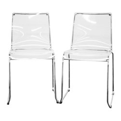 Baxton Studio - Lino Transparent Clear Acrylic Dining Chairs, Set of 2 - These simplistic modern dining chairs will instantly change the look of your room - for the better! With a chrome-finished steel frame and heavy-duty acrylic seat, these minimalistic chairs are sturdily and dependably built. The seat top is transparent clear. Included for each chair are four black plastic floor protectors, which also stabilize the chair. This chair is stackable, and will arrive fully assembled.