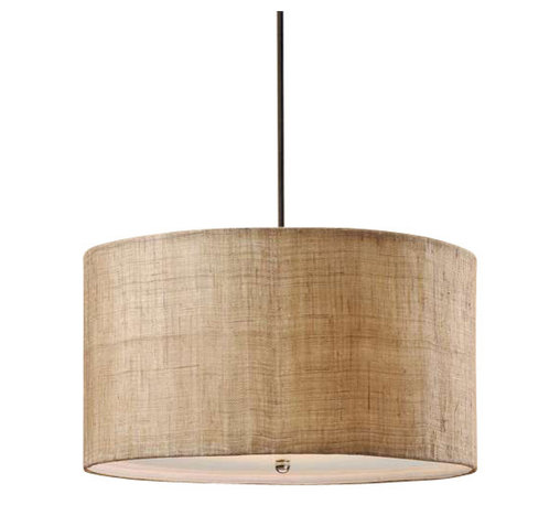 Uttermost Dafina 3 Light Burlap Drum Pendant - Antiqued burlap weave with natural slubbing and a white inner liner. Frosted glass diffuser included. Antiqued burlap weave paired with a white inner liner infuse a casual look with sophisticated appeal. Frosted glass diffuser included.