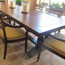 "idlewild Furnishing - Teak plank top dining table in 39"" x 98"" . Also available in 45' x 116"" . we also do custom sizes."