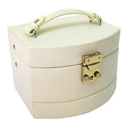 Morelle - Laura Leather Expandable Jewelry Box, Cream. - This spacious jewelry box opens up to 3 expandable drawers making it nice and roomy for the organized woman with lots of jewelry and accessories. Features mirror on inside lid with lock and key for safety.