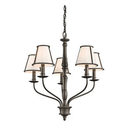 Kichler Lighting - Kichler Lighting 43339OZ Donington 5-Light Traditional Classic Chandelier - Inspired by the historic estates of presidents past, this 5 light chandelier from the Donington collection is a unique interpretation of traditional Williamsburg style. Simple iron rope detailing and a rich, Olde Bronze™ finish accentuates the off-white fabric shades, creating a classic look that works with a variety of decorating schemes.