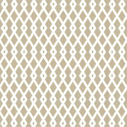 """Ballard Designs - Vaneto Taupe Fabric by the Yard - Content: 100% Cotton. Repeat: Non-railroaded fabric with 4"""" repeat. Care: Dry Clean. Width: 55"""" wide. Off-white and taupe lattice printed on crisp 100% cotton. . . . . Because fabrics are available in whole-yard increments only, please round your yardage up to the next whole number if your project calls for fractions of a yard. To order fabric for Ballard Customer's-Own-Material (COM) items, please refer to the order instructions provided for each product. Ballard offers free fabric swatches: $5.95 Shipping and Processing, ten swatch maximum. Sorry, cut fabric is non-returnable."""
