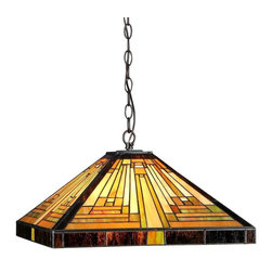 Chloe Lighting - Innes 2 Light Ceiling Pendant Fixture - Note: Shade colors will appear darker and less vibrant when not illuminated.. The handcrafted nature of this product creates variations in color, size and design. If buying two of the same item, slight differences should be expected.. This stained glass product has been protected with mineral oil as part of the finishing process. Please use a soft dry cloth to remove any excess oil. . Due to the nature of stained-glass, colors may vary. Glass, metal & electrical components. Overall: 16.1 in. L x 16.1 in. W x 7.48 in. H (6.4 lbs.)INNES, Tiffany-style mission ceiling pendant is handcrafted with intricate designs and made of pure stained glass piece. ���� Distinctive design featuring rows and columns. ���� Each piece accentuated one another to create a wonderful pallet of warmth. ���� Coated in an antique bronze patina tone. ���� Details abound from the base to the top anchor. ���� Expertly crafted with top quality materials. ���� Great addition to any office or home.