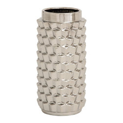 Customary Styled Fancy Ceramic Silver Vase - Description:
