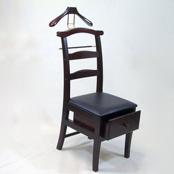 None - Manchester Mahogany Finish Chair Valet - This practical and attractive hardwood chair valet keeps your next day's wardrobe neat and easily accessible. This mahogany valet includes a wooden coat hanger,metal slacks rack,two tie hangers,and a storage drawer perfect for accessories.