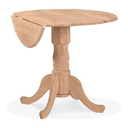 International Concepts - Round Unfinished Dual Drop Leaf Pedestal Dinette Table - 6 in. Drop leaf on each side. Floor to apron: 26.5 in.. Made of Solid Parawood. 36 in. Dia x 30 in. H (42 lbs.)