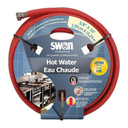 Swan SNCHW58050 Premium Hot Water Heavy Duty 5/8-Inch by 50-Feet Water Hose - Industrial style reinforcing for flexibility and high burst strength with heavy-duty, crushproof, machined brass couplings and maximum wear, abrasion-resistant cover withstands hot water use (to 200 degrees Fahrenheit).