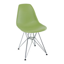"""LexMod - Paris Dining Side Chair in Green - Paris Dining Side Chair in Green - These molded plastic chairs are both flexible and comfortable, with an exciting variety of base options. Suitable for indoors or out, appropriate for the living and dinning room, these versatile chairs are a great addition to any home dcor statement. Set Includes: One - Paris Wire Side Chair Chromed Steel Base, Plastic Non-Marking Feet, For Indoor or Outdoor Use Overall Product Dimensions: 21""""L x 18.5""""W x 32.5""""H Seat Dimensions: 17""""L x 18""""W x 18""""H - Mid Century Modern Furniture."""