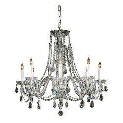 Crystorama - Crystorama 1138-PB-CL-MWP Chandelier - Traditional crystal chandeliers are classic, timeless, and elegant. Crystorama's opulent glass arm chandeliers are nothing short of spectacular. This collection is offered in a variety of crystal grades to fit any budget. For a touch of class, order this
