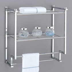 Organize It All Metro 2-Tier Wall Mounting Rack with Towel Bars (16988) - Features: Stylish chrome finish, Two towel bars, Two shelves for extra storage, Modern look; wall mountable