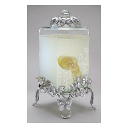 """Godinger Silver - Butterfly 2 Gallon Glass Beverage Server - Graced by the whimsical springtime butterfly theme, this Textured Glass Beverage Dispenser brings on the charm as well as 2 gallons of your party favorites. The durable, built in plastic spigot coated in stainless steel smoothly dispenses sangria, iced tea, punch or lemonade at your next party buffet or event. With the metal butterflies adorning the stand and matching lid, this pedestal hammered beverage dispenser with metal spout is ideal for magnolia lovers too! * Dimensions: 19"""" Tall 9.4 Wide"""