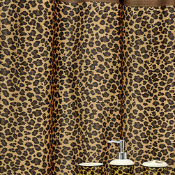 None - 'Leopard Brown' shower Curtain and Ceramic Bath Accessory 16-piece Set - This fashionable 16-piece bath accessory set by Famous Home Fashions includes everything needed to update the bathroom to a hip leopard brown pattern. The shower curtain is conveniently machine washable.