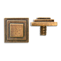 "Compliments Accessories - Equus Tile Tack - Stacked 3/4"" Square Tile Tack with a 1/4"" stem in an Aged Brass finish"
