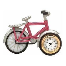 WL - 2.25 Inch Light Pink Bicycle with White Rims Mini Quartz Clock - This gorgeous 2.25 Inch Light Pink Bicycle with White Rims Mini Quartz Clock has the finest details and highest quality you will find anywhere! 2.25 Inch Light Pink Bicycle with White Rims Mini Quartz Clock is truly remarkable.