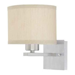 Dolan Designs Lighting - Sconce with Beige Fabric Shade - 2946-09 - This fabric shade helps to give off a warm glow to any room or hallway. Takes (1) 60-watt incandescent A19 bulb(s). Bulb(s) sold separately. UL listed. Dry location rated.