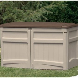 Suncast 4.5 x 2 ft. Tool Shed - Dimensions:Exterior dimensions: 4.5W x 2.17D x 2.83H feetInterior dimensions: 4.17W x 1.83D x 2.5H feetDoor dimensions: 2.44W x 4.10H feet A handy outdoor accessory the Suncast 4.5 x 2 Foot Horizontal Storage Shed features built-in shelf supports and a lift-up lid with a prop rod that allows easy access to stored items. Perfect for storing your garden tools or keeping unsightly garbage cans out of sight this shed provides peace of mind with its lockable doors and lid. Constructed from sturdy resin this durable shed is weather resistant and designed to withstand the harshest elements while staying dry at all times. The neutral taupe color adds to its appeal. Tool-free assembly means that it will get to work just minutes after you take it out of the box.About Suncast CorporationSuncast is known for its high-quality low-maintenance storage products and accessories. Organize gardens back yards garages basements and more. Suncast's full line of products includes everything from storage lockers to sheds and bins. Suncast pieces are designed for low-maintenance worry-free performance that's versatile enough to suit your every need.
