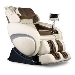 Osaki OS-4000 Executive Zero Gravity Massage Chair in Cream & Beige - This massage chair in Cream and Beige is designed with a set of S-track movable intelligent massage robot, special focus on the neck, shoulder and lumbar massage according to body curve. It automatically detects the whole body curve as well as makes micro adjustments, which brings more humanistic and scientific massage enjoyment. Designed with six unique auto-programs: Healthcare, Relax, Therapy, Smart, Circulation and Demo.