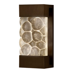 Fine Art Lamps - Crystal Bakehouse River Stone Sconce, 810850-14ST - Enjoy the shimmer of crystal river stones anywhere in your home — inside or out. With this versatile sconce, a hand-crafted, polished block radiates from a bronze, silver or silver-leafed frame.