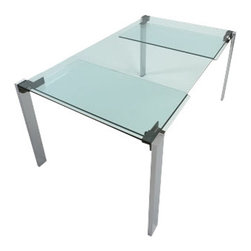 "Tonelli Design - Livingstone Extendable Dining Table - Italian extendible glass dining table in clear glass with chrome legs.  The mechanism for moving the extensions from under the main top is completely hidden in the leg giving a very clean simple design. Most expandable glass tables have to use painted or frosted glass in order to hide the leaves and the mechanism, but this table embraces the extensions as part of the design. The length with one raised extension is 83"" and 102"" with both extensions in place. The primary top is 5/8"" glass and the extensions are 2/5"" thickness."