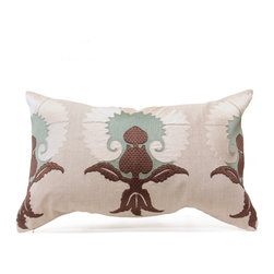 Gwen Pillow - Taupe/Ice/Vanilla - Heavily textured and masterfully hand-embroidered, the Persian flowers that bloom in gradated, dandelion-like coronas on the surface of the Gwen accent pillow bring attractive silhouettes and rich historic patterns to your rooms.  Their color scheme includes deep taupe brown bases with naturalistic rose leaves and stylized curling sepals on ice-blue flower heads, fading to a whispering ivory at the outer petals.  A zippered feather insert plumps the floral toss pillow.