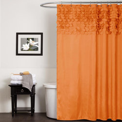 Lush Decor - Lush Decor Lillian Orange Shower Curtain - This Lillian shower curtain from Lush Decor features laser-cut circles hand-stitched onto the curtain for a 3D effect. This unique,orange curtain adds a chic modern look to your bathroom.