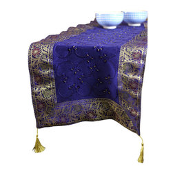 """Banarsi Designs - Hand Embroidered Table Runner, King Blue, 120"""" X 17"""" - The artistic """"Hand Embroidered Table Runner"""" from our Exclusive Banarsi Designs Collection transforms any tabletop into a visual masterpiece. Our unique decorative table runner is made in India and features an abstract pattern that incorporates techniques using hand embroidery throughout the entire decorative pattern."""