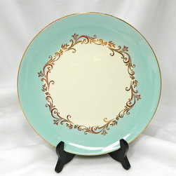 Pretty Vintage Mint Green Dinner Plate by 3 Sisterz Jewelry - Wow, this is a stunner of a dinner plate! Mint green, a swirly garland of gold and a golden rim make this vintage plate a keeper. When it comes to fancy patterned china, I still love the idea of mix and match (which makes vintage dishes ideal).