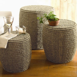 Tag Everyday - Seagrass Storage Ottomans in Coffee - Set of 3 - Set of 3. Natural seagrass is renewable, versatile and long lasting. Seagrass is twisted by hand into twine. Hand woven. Powder coated metal frames. Tops can be reversed and used as trays. Hollow baskets for storage. Strong to use as additional seating. Small: 13 in. Dia. x 14 in. H. Medium: 15.75 in. Dia. x 16.5 in. H. 19 in. Dia. x 20 in. H