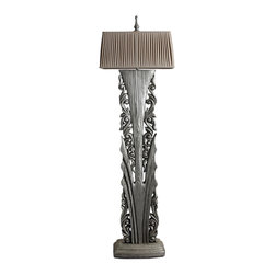 Silver Finish Wooden Carved Tall Floor Lamp - *Large solid wood is engraved with hollow out flower as lamp base.