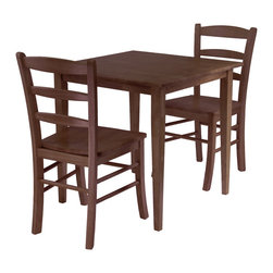 Winsome Wood - Winsome Wood Groveland 3 Piece Square Dining Table w/ 2 Chairs - 3 Piece Square Dining Table w/ 2 Chairs belongs to Groveland Collection by Winsome Wood Rich, warm and inviting describe this square Shaker-style dining table and 2 Ladder Back Chair Set finished in an Antique Walnut stain . With slightly tapered legs, the classic design combines a look that will go well with many decors and is an ideal size for a kitchen eating area or small dining room. Dining Table (1), Dining Chair (2)