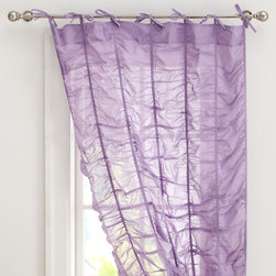 Ruched Drape, Lilac - Sometimes ruched curtains can seem a little stuffy — but not these fab sheer tie-top panels! They bring a youthful, glam look to the windows.