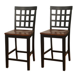 American Heritage - American Heritage Mia Square Block Back Counter Height Dining Chair (Set of 2) - The arts and crafts American Heritage Billiards Mia Sq Block Back Counter Height Dining Chair - 700205BLK/SD is crafted of solid wood and have a comfortable wood seat. They look great in the stunning two toned black and suede finish.