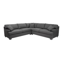 Z Gallerie - Tate Sectional - Charcoal - Full-fledged comfort gives way to timeless design, optimizing both lounging and unique spatial arrangements in our Tate Sectional Collection. Wide proportions and down blend filled back cushions allow you to indulge in cozy seating, while the heirloom quality solid hardwood frame provides the perfect amount of support. Shown here in Susan Charcoal, a beautiful basket weave fabric of 65% polyester / 35% acrylic, will withstand heavy use with an understated style.