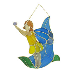 Zeckos - Stained Glass Fairy Holding a Drop of Dew Wall Plaque - This pretty stained glass wall plaque features a fairy in a yellow dress holding a drop of dew, ready to water the flowers. It measures 10 inches tall, 8 inches wide, 1 inch deep and is crafted from beautiful pieces of colored glass. Display alone or in a group, on the wall or as suncatchers. NOTE: Suction cup not included.