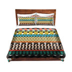 DiaNoche Designs - Duvet Cover Twill by Organic Saturation - Desert Aztec Pattern - Lightweight and soft brushed twill Duvet Cover sizes Twin, Queen, King.  SHAMS NOT INCLUDED.  This duvet is designed to wash upon arrival for maximum softness.   Each duvet starts by looming the fabric and cutting to the size ordered.  The Image is printed and your Duvet Cover is meticulously sewn together with ties in each corner and a concealed zip closure.  All in the USA!!  Poly top with a Cotton Poly underside.  Dye Sublimation printing permanently adheres the ink to the material for long life and durability. Printed top, cream colored bottom, Machine Washable, Product may vary slightly from image.