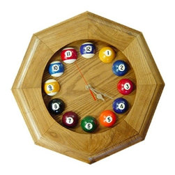 Sterling Gaming - Octagonal Frame Billiards Wall Clock in Solid - Octagonal frame clock. Features real smaller scale pool balls for the numbers. Features a quartz movement to ensure accurate timekeeping. Made from solid oak. 13 in. Diameter (2 lbs.)