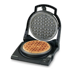 Chef's Choice - Chef's Choice Waffle Pro Belgian Waffle Maker - The Chef's Choice Waffle Pro Express features a new modern design and a floating top plate. The 840 Belgian waffle maker is Chef's Choice most advanced waffle maker yet. In as little as 90 seconds, you'll be preparing the world's most delicious waffles, effortlessly. The unique Quad baking system lets you select the ideal texture, flavor and color. The Waffle Pro incorporates the unique Quad baking system to insure a waffle baked the way you prefer. You select either a fast bake or a deep bake. Then you select a color control setting. And the color control adjusts for either baking setting to give you a toasty, brown exterior and the interior texture you want. This professional, heavy-duty unit offers a waffle ready beeper, baking and lights, instant temperature recovery for continuous baking, a non-stick deep channel griddle and an easy-clean overflow channel. The floating lid guarantees uniform waffle thickness and baking and ensures incredibly easy clean-up every time. With a built-in cord storage compartment, the waffle maker can be efficiently stored in a space-saving, upright position. Recipes included. One-year limited warranty. Features: Space saving design Beeper ready alarm Ready Light Cord storage compartment 1 Year Warranty