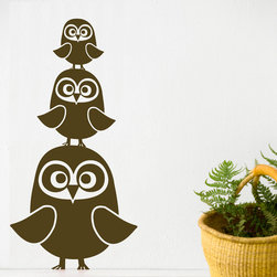 Kids Wall Stickers, Three Owls Wall Sticker, Brown - With our decorative WallStickers, it is easy to create a new look and change the style of a room in a matter of minutes. Can be applied to all even and smooth surfaces. Will not stick to rough surfaces, such as brick walls etc.