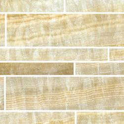 Honey Onyx Creme Mosaic - The layered translucency of onyx is so beautiful. This mosaic would work great as a border or as field tile. I could see it on a narrow wall running all the way up to the ceiling behind a bathroom sink.