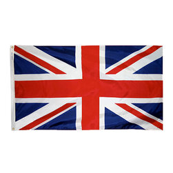 Flagline - United Kingdom - 3'X5' Nylon Flag - If you are a serious flag collector or if you plan on displaying your flag outdoors, you should consider our line of Nylon flags. Our Nylon flags are made of 100% Perma-Nyl Nylon, finished with canvas headings and brass grommets, primarily for outdoor use. Nylon flags are heavier than Polyester and stand up well to sun exposure. A Nylon flag provides a longer life of service and enjoyment.