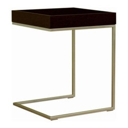 """Wholesale Interiors - Meritage End Table - Features: -Black oak finish. -Wood and stainless steel construction. -Stylish and unique end table that is sure to complete any home dcor. -Its perfect combination of quality craftsmanship. -Simple, sophisticated designs will instantly enhance your living space. -Overall dimensions: 21"""" H x 16"""" W x 16"""" D."""