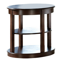 Steve Silver - Steve Silver Crestview 26x21 Oval End Table - Circles align to create the contemporary look of the Crestview Collection. The Crestview Oval End Table stands oval bottom, and one shelf in between. This impressive piece complements the Crestview spinning cocktail table and sofa table. What's included: End Table (1).