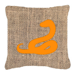 Caroline's Treasures - Snake Burlap and Orange Fabric Decorative Pillow Bb1124 - Indoor or Outdoor pillow made of a heavy weight canvas. Has the feel of Sunbrella fabric. 14 inch x 14 inch 100% Polyester Fabric pillow Sham with pillow form. This pillow is made from our new canvas type fabric can be used Indoor or outdoor. Fade resistant, stain resistant and Machine washable.