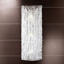 Lightology Collection - Flow Vertical Wall Sconce - Flow vertical wall sconce features a glass plate with clear decoration created using molten glass threads technique. Four 60 watt, 120 volt, medium base incandescent bulbs are included. 13.78 inch width x 39.37 inch height x 2.76 inch depth. ADA compliant.